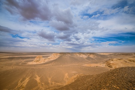 landscape of sunlit sand dunes Stock Photo