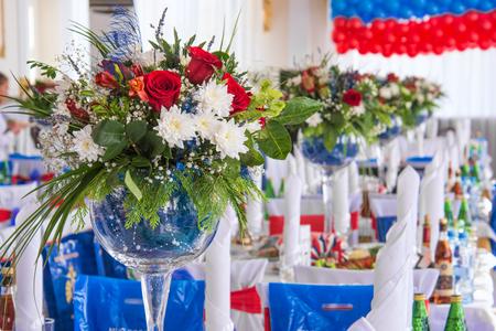 flower bouquet in glass vase Stock Photo