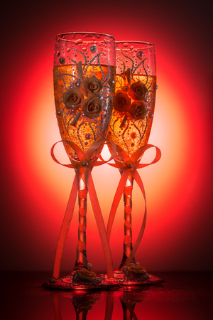 decorated wedding champagne wineglasses