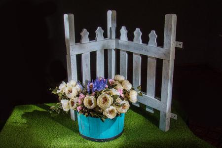 beautiful flowers in blue pot Stock Photo