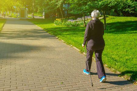 A adult woman walking with sticks in morning park. Reklamní fotografie