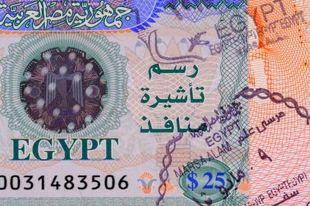 Part photo of Egypt visa with stamp in passport. Visa fee in Egypt $25. Close up view.
