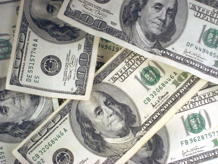 dollar bills: Pile of Cash. Only 100 Dollar Bills.