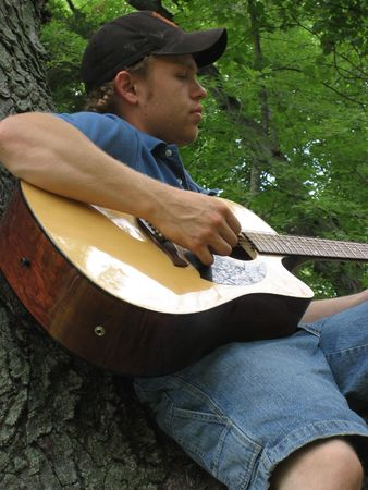 Young Man sitting in a tree playing a guitar. Stock Photo - 1187166