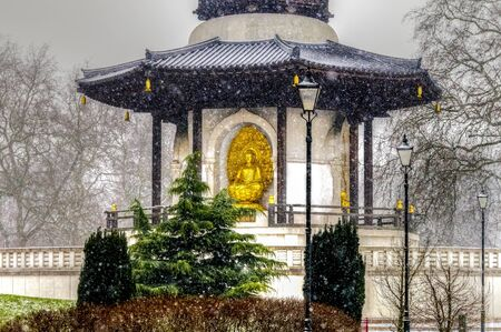 battersea: Peace Pagoda at Battersea Park on a Snowy Day