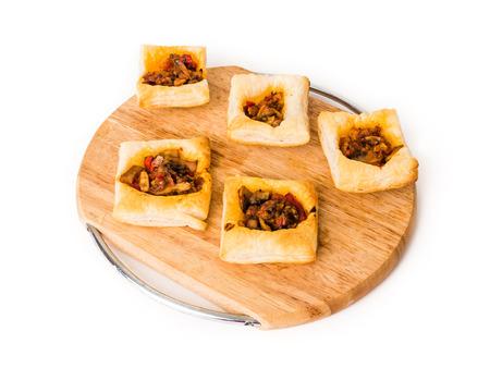 vegeterian: Vegeterian mushroom pastry, borek on white isolated background