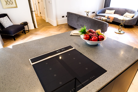 granit: Modern Electronic Hob with Granit Countertop and Living Room