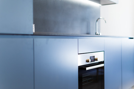 kitchen cabinets: Blue Modern Kitchen Cabinets with Fit Oven and Tap in the Background