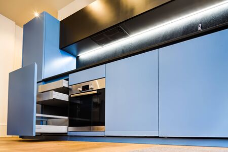 kitchen cabinets: Modern and Stylish Blue Kitchen Cabinets and Open Drawers