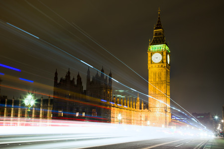 Big Ben House of Parliament in London at Night with Long Exposure Light Trail