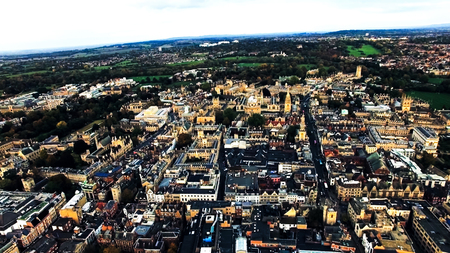 Oxford City, England Aerial View. Helicopter View Including Historic Buildings The Oxford University and College Buildings in United Kingdom