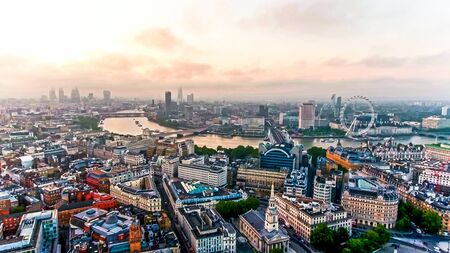 Aerial View Photo of Beautiful Sunrise at the City of London Capital City Skyline Famous European Destination in England, United Kingdom