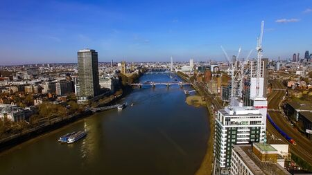 Aerial View Of Construction Building Development In Central London feat. Thames River