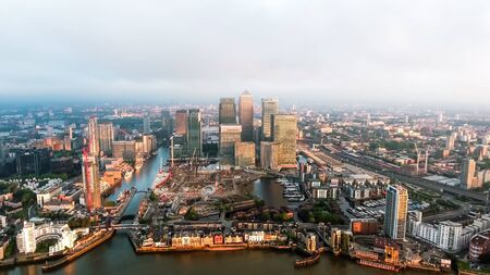 Aerial View Of Iconic Canary Wharf Financial District Skyscrapers In London England UK