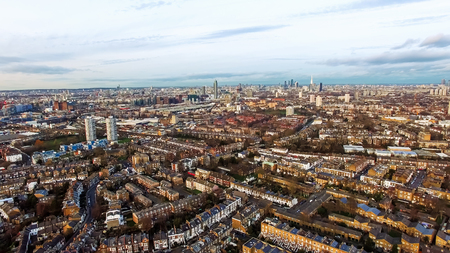Urban Cityscape Clapham and Battersea Aerial View South West London Banque d'images