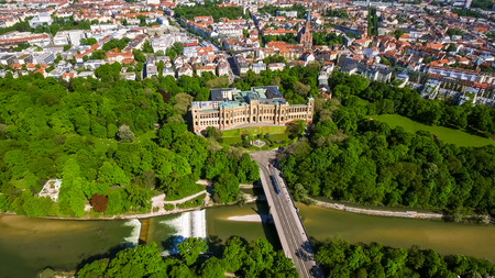 Aerial View Of Iconic Landmark Maximilianeum In Munich Germany 4K 版權商用圖片
