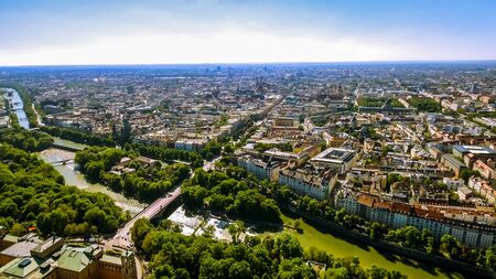 Aerial View Flying By Over Munich Cityscape Landmarks in Germany Banque d'images