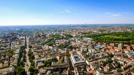 New Munich Skyline Cityscape Aerial View with Iconic Landmarks in Germany