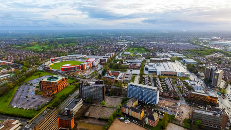 Aerial View Of Old Trafford Cricket Ground in Manchester Urban City in England, UK