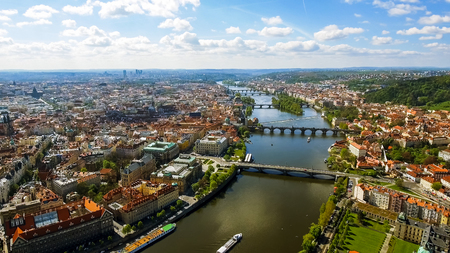 Aerial View Photo Of Historic Old Town Gothic Architecture Prague City In Czechia Czech Republic