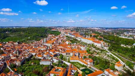 Flying Over Aerial View The City Of Prague feat. Historic Old Gothic Buildings In Czechia Czech Republic