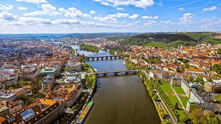 Aerial View Of Prague Cityscape Skyline In Czechia Czech Republic