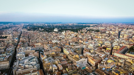 Aerial View Of Rome Cityscape Urban View in Italy on a Sunny Day