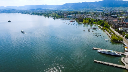 Aerial View Of Lake Zurich City feat Seafront Lakeside on a Sunny Day In Switzerland Europe