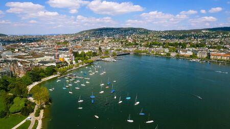 Aerial View Of Yachts Around Lake Marina In Zurich Switzerland