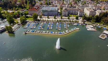 Fountain And Luxury Marina Boats In Zurich Switzerland Lakeside Aerial View Photo