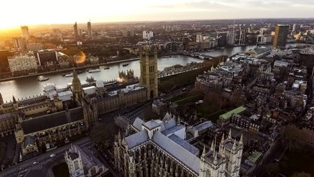 Aerial View Photo Iconic English Landmark Big Ben Clock Parliament feat British Flag in City of Westminster on 09 April 2017 in London UK Sajtókép