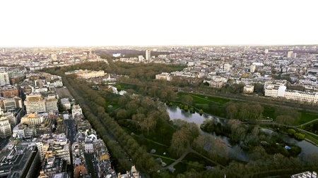 Aerial View of Buckingham Palace and St James Park in City of London, England UK