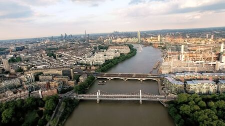 Aerial View Photo Above The Thames River and Bridges in Development Area around Battersea Park and Chelsea Bridge London