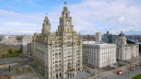 Aerial View Of Liverpool Town Hall Cityscape with Historic Iconic Royal Liver Building Clock Tower in England UK