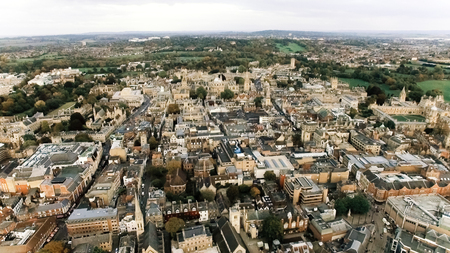 Aerial View of Oxford University Education Icon and Historic Buildings with Gothic Architecture in the UK - England