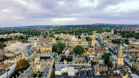Aerial View of Iconic Oxford University Colleges and Historic Buildings in Oxford City, England UK