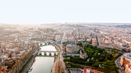 The New Rome and Vatican City Image Photo Aerial View in Historical Capital Rome with Landmarks around River Tiber in Italy