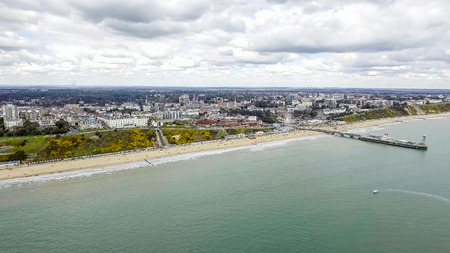 Beautiful Aerial View Photo of Bournemouth Pier Cityscape at Beach feat. Sea Front and Coast in England UK