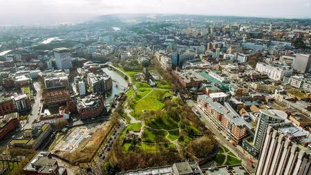 Bristol City Center Aerial View Town Cityscape in England UK