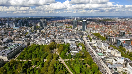 Aerial View Financial District of Brussels Cityscape in Belgium feat, Business Buildings and Skyscrapers with Brussels Park Фото со стока