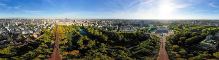 Aerial London City Skyline Wide 360 Degree Panorama View in Central London around Buckingham Palace feat. St Jamess Park and The Mall in Westminster, England, United Kingdom