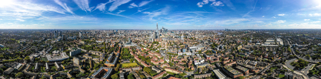New Modern South London City Aerial Skyline with 360 Degree Panorama View feat. Suburban Neighbourhood and Central London Buildings in the background around Borough, Elephant and Castle and Bermondsey