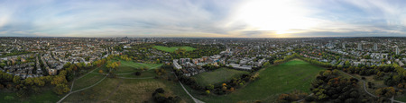 Aerial view 360 panorama London cityscape with urban architectures. Beautiful city skyline feat parks, residential neighborhood view of Euston, Fitzrovia, Marylebone, Regent's Park and Primrose Hill