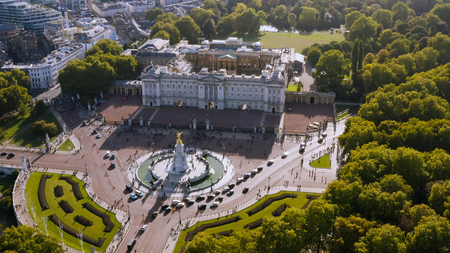 Aerial View of Royal Residence Buckingham Palace feat. Victoria Memorial. Famous Iconic Monarch Building of the United Kingdom located in the City of Westminster, England UK