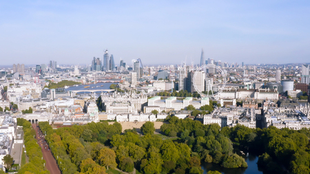 New London Skyline Aerial View one of the Most Beautiful Cities in the World with Iconic Landmarks Wheel, Modern Towers feat. Famous Westminster Buildings around Touristic Central District, England UK