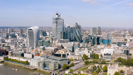 Modern Office Towers Aerial View in Business and Financial District in London. Most Advanced Construction Techniques and Architecture can be seen in New Skyline of England's Capital, UK 写真素材
