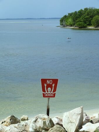 no swimming sign: No swimming sign near the Gulf of Mexico in Florida