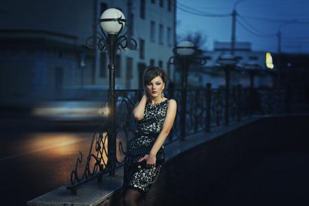 beautiful elegant girl night city beautiful elegant girl night city photo