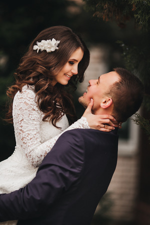 fashion story: beautiful wedding, husband and wife, lovers man woman, bride and groom