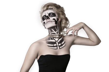 girl on the face of the skeleton Halloween